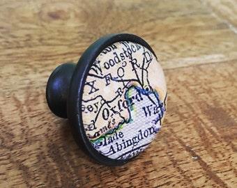 Oxford Map Cabinet Knob - Custom Drawer Pull - DIY - Kitchen Remodel - Oil-Rubbed Brass - Renovation - HGTV - England - Oxford University