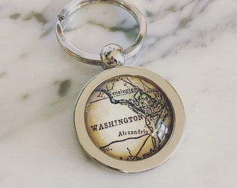 Washington DC Vintage Map Key Chain - Great Gift for Friends
