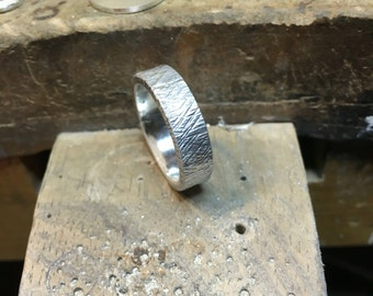 Rain texture Sterling Silver Unisex Band