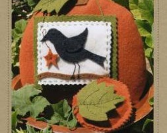 Primitive Wool Pumpkin And Crow Pin Cushion Needle Case Emory Round Pattern Pincushion Craft Pattern