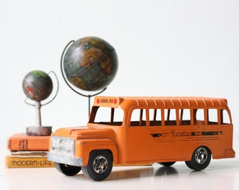 Vintage School Bus by Hubley USA, Orange Toy School Bus