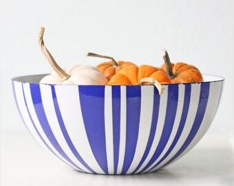 "Vintage Cathrineholm Bowl, Blue and White Stripe, 11"" Diameter"