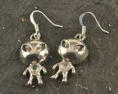 Cute ALIEN Silver Tone Earrings Spaceman Martian SWAROVKSI Crystal