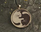YIN YANG White Cat Black Cat Round Pendant Black Necklace