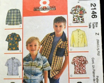 ON SALE Children's and Boy's Sewing Pattern McCall's  2146 Button Up Shirts Size Med-XL Uncut Complete