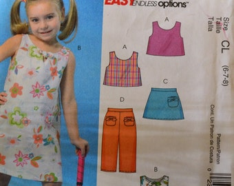 Sewing Pattern McCalls 4815 Girls Reversible Top, Dress, Skort, and Capris Size 6-8 Complete