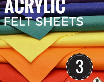 Choose 3 or 6 Acrylic Felt Sheets, Craft Felt Sheets, Acrylic Felt Pack, Craft Felt Pack, Felt Fabric, Craft Felt, Felt Craft Supplies