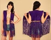 ViNtAgE 60's 70's Purple Fringe Vest Woodstock Era Suede Grommet Cutout // Rocker HiPPiE BoHo Gypsy Festival Mini Dress M/L