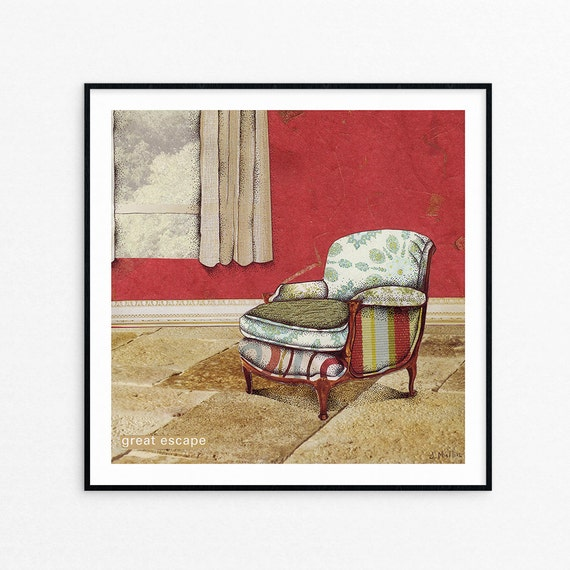 Wall Art - Archival Art Print - Chair Art - Mixed Media Collage - Great Escape - 8 x 8 - Housewarming Gift - Gifts for Her - Gifts Under 25
