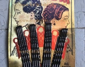 1920-1930 Black Bobby-Pin Card Vintage Collection HOLD-BOBS For Your Vintage Hairstyle, Bobbie Pins, Bob Pins, Hair Pins,