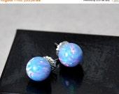 SALE ON SALE 10mm Ball Stud Post earrings, Opal Earrings, Blue Opal, Sterling Silver Earrings,  Australian Opal, 925 Sterling Silver