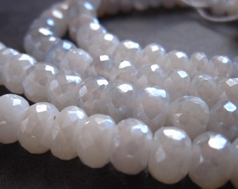 White and Silver Chalcedony beads Wedding semiprecious stone - 7mm X 5mm - faceted rondelles 6 1/2 inches