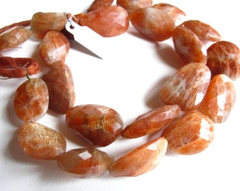 Large Faceted Sunstone Nuggets semiprecious gemstones - beads - 16 inches