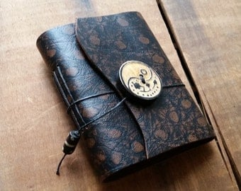 Black, Brown Ostrich Print Leather, wood button,Small Handbound Leather Journal Book