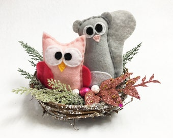 Owl and Squirrel Nest, Christmas Decoration, Winter Decoration, Squirrel and Owl, Mantle Decoration, Centerpiece, Gift Under 30