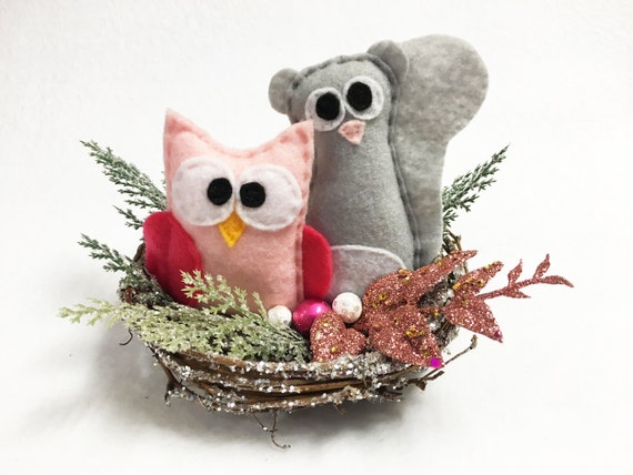 Winter Nest, Christmas Decoration, Squirrel and Owl, Mantle Decoration, Centerpiece, Frosty Branches