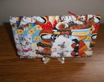Kittens, TriFold Wallet, Fabric Wallet, Handmade Wallet, Clutch Purse, Cell Phone Checkbook Wallet, Women's Wallet, Accessory, Gift