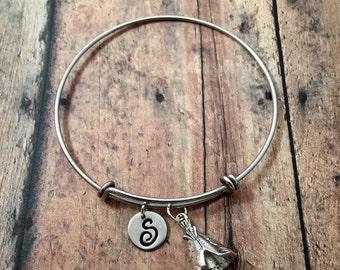 Teepee initial bangle- teepee jewelry, western jewelry, southwestern bracelet, western bracelet, teepee initial bracelet, southwest bangle