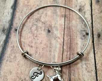 Jack Russell terrier initial bangle- JRT bracelet, Parson terrier jewelry, Jack Russell jewelry, Jack Russell terrier bracelet, JRT bangle