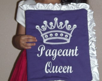 """Purple and white """"Pageant Queen"""" photo memory book with white satin ruffles"""