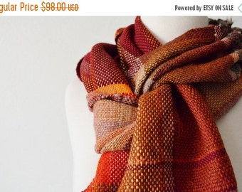 Sale Handwoven Autumn Patchwork Scarf - Colorblock Scarf in Wool, Cotton, Linen, Acrylic, Deep Red and Burgundy, Hunter Orange, Gold. Extra