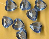 vintage heart shape beads sparkling blue TEN faceted glass beads in the shape of a heart