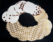 """27 - 3.5""""  Scalloped Circle Tags, gold foil ,tags, art supplies, Gift Tags, Cupcake Toppers, Scrapbooking, Embellishments, wedding book tags"""