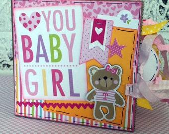Love You Baby Girl Scrapbook - New Baby Girl Photo Album -  Paper Bag Album