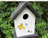 SUMMER SALE Primitive Birdhouse White Black Yellow Bumble Bee