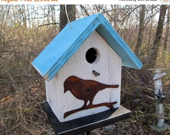 SUMMER SALE Birdhouse Functional Primitive White Blue Rusty Bird Cutout