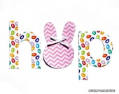 Easter ... H o P ...Fabric Iron On Appliques... Boy//Girl//Triplets//Siblings