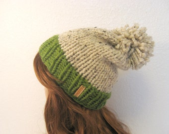 Slouchy Knit Hat with Pom Pom / VAIL / Grass & Oatmeal