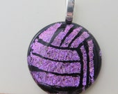 Volleyball Necklace Pendant - Water Polo Necklace Pendant - Dichroic Fused Glass - Purple - Free Shipping