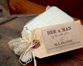 Mens Shampoo + Body Bar   Soap   MENS Soap   Natural Soap   Shampoo Bar   Mens Grooming   BEE a MAN   Gift for Him   Head to Toe Bath Bar
