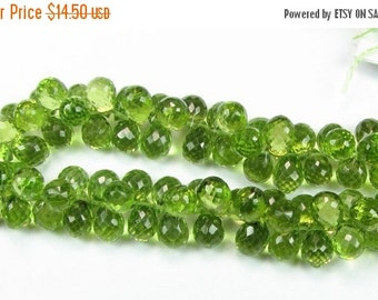 FLASH SALE Stunning Micro Faceted Peridot Teardrop Pineapple Briolettes 7mm - 8mm (6 gems)