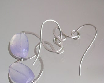 Lavender Quartz Earrings, Sterling Lilac Dangles, Curved Silver Drops, Glowing Gemstones, Minimalist, Original Design, Signature