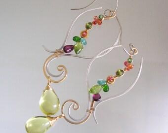 Long Gemstone Earrings, Unique Mixed Metal Dangles, Sculptural Chandelier Earrings with Sapphire, Apatite, Lemon Quartz, Runway Worthy