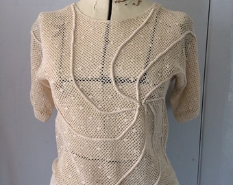 Crocheted Lace Blouse Short Sleeve Cream Off White Floral Lace Sheer Mesh Sweater Top Small