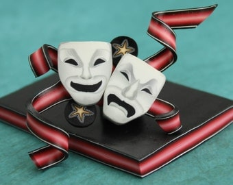 HALF PRICE SALE Red Ribbon Polymer Clay Cane (masks not included)- 'Drama Queen' series (44cc)