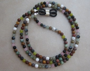 multi gemstone eyeglass chain holder