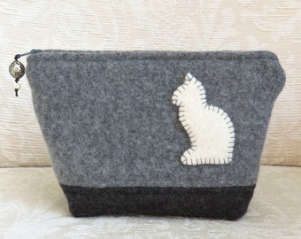 White Cat Zippered Pouch, Upcycled Felted Sweater Wool Clutch in Gray and Black