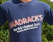 vintage 80s t-shirt SHADRACK'S restaurant bbq bluegrass tee Small boone nc