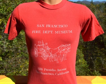 vintage 70s t-shirt SAN FRANCISCO fire rescue museum presidio tee Small xs red firefighter