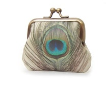 Peacock feather coin purse, mini pocket pouch, printed silk bird, gift for her, PEACOCK