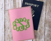 Personalized Passport Cover - Travel Gift for Her - Passport Holder for Women - Vine Monogram Passport Wallet - Faux leather Passport Cover