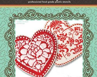 Winterthur Heart Cookie Stencil Set (no cutter) - Designer Stencils (CS003W)