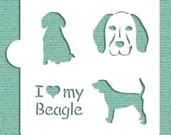 I Love My Beagle Cookie, Cupcake & Craft Stencil - Designer Stencils (CM017)