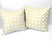 Metallic Gold, White, Gold Quatrefoil Pillow Covers, Throw Pillow Covers, Cushion Covers TWO Designer Pillows, Gold White, SET of TWO