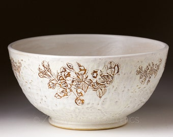 Bowl -Ceramic Bowl - Stoneware Serving Bowl - Large Bowl - Fruit Bowl - Salad Bowl - Pottery - Cherry Blossom