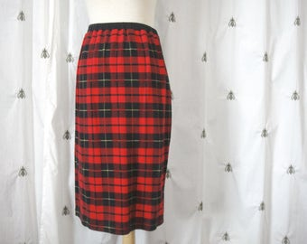 Vintage 1980s Plaid Knit Wiggle Skirt, Pencil Skirt, Preppy Punk, Red, Black, and Yellow, Knee Length, Size Medium, Adrienne Vittadini